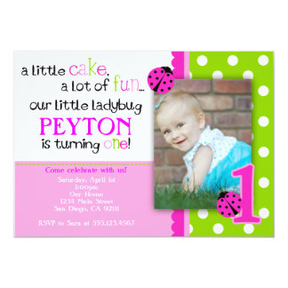 Ladybug Birthday Invitation Hot Pink Lime green