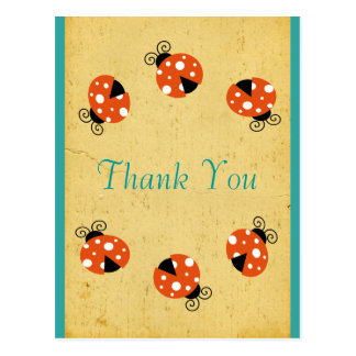Ladybug Birthday Thank You Postcard