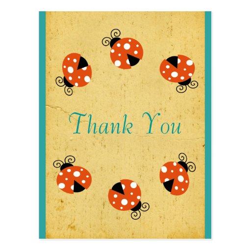 Ladybug Birthday Thank You Postcard