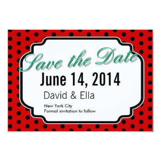 Ladybug Black Dots Red Save the Date Cards 9 Cm X 13 Cm Invitation Card
