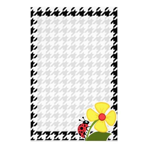 Ladybug; Black & White Houndstooth Stationery Paper
