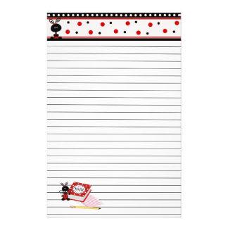 Ladybug Border and Math Homework Lined Stationary Stationery