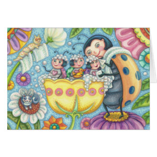 Ladybug Bubblebath LADYBUG FAMILY GREETING CARD