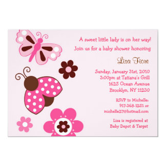 Ladybug Butterfly Flower Baby Shower Invitations