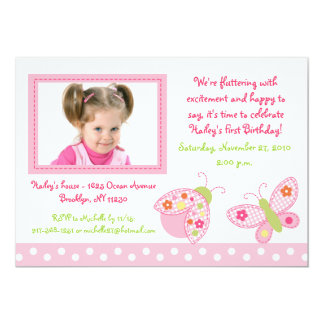 Ladybug Butterfly Photo Birthday Invitations