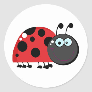 Ladybug Cartoon Character Round Sticker