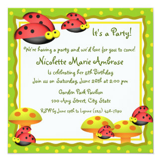 Ladybug Charm/ Birthday Invite