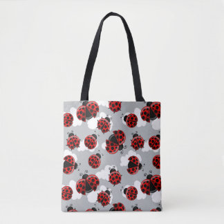 Ladybug Cloud Sky Ladybird Bug Insect Red Black Tote Bag