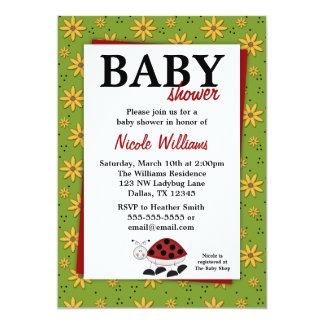 Ladybug Daisies Baby Shower Invitations