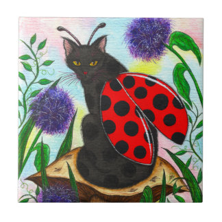 Ladybug Fairy Cat Fantasy Art Tile