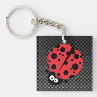 Ladybug; Faux Carbon Fiber Double-Sided Square Acrylic Key Ring