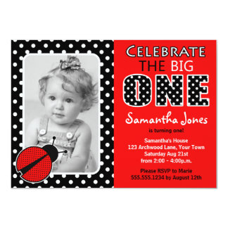 Ladybug First Birthday Party Card
