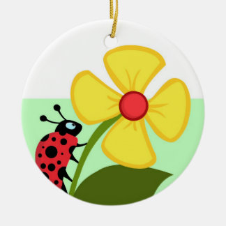Ladybug Flower Ceramic Ornament