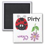 Ladybug & Flower (Clean/Dirty)  Dishwash Magnet Magnets