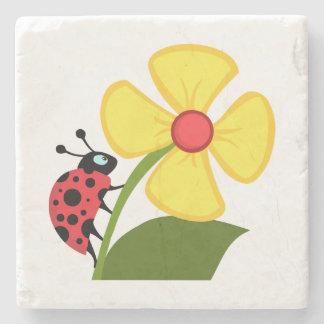 Ladybug Flower Stone Coaster
