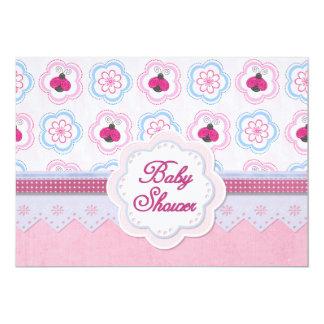 Ladybug Flowers Baby Shower 13 Cm X 18 Cm Invitation Card