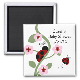 Ladybug & Flowers Magnet/Keepsake/Party Favor Square Magnet