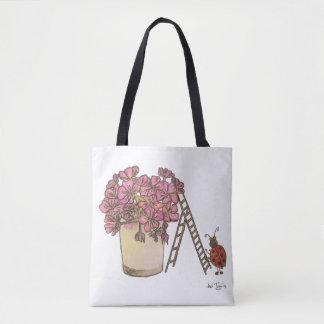 Ladybug Flowery Tote Bag