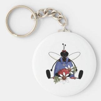 Ladybug Garden Basic Round Button Key Ring