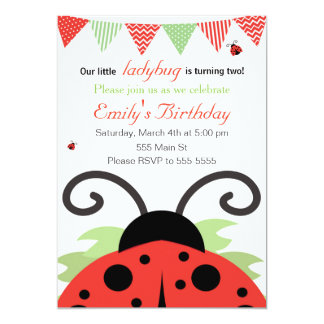 Ladybug Girl Birthday Invitation Card