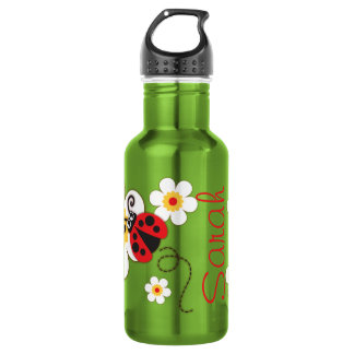 Ladybug girls name red yellow drinks bottle
