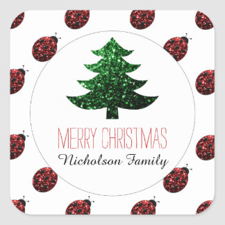 Ladybug + Green Christmas tree sparkles Gift Tag Square Sticker