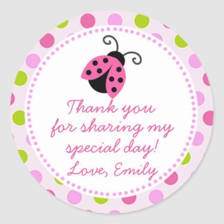 Ladybug Green Pink Gift Favour Label Round Sticker