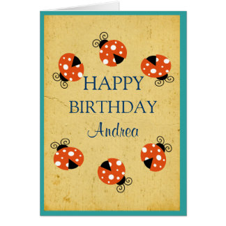 Ladybug Happy Birthday Card