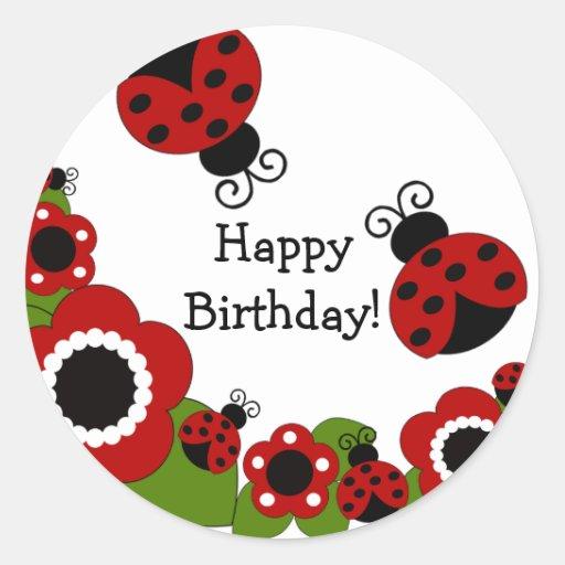 Ladybug Happy Birthday Sticker