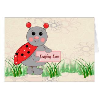 Ladybug Holding Sign For Ladybug Love Greeting Card