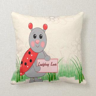 Ladybug Holding Sign For Ladybug Love Throw Cushions