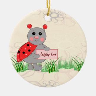 Ladybug Holding Sign For Ladybug Love Round Ceramic Decoration