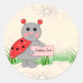 Ladybug Holding Sign For Ladybug Love Round Sticker