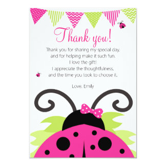 Ladybug Hot Pink Party Thank You Card 13 Cm X 18 Cm Invitation Card