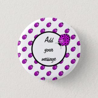 Ladybug in pink/purple 3 cm round badge