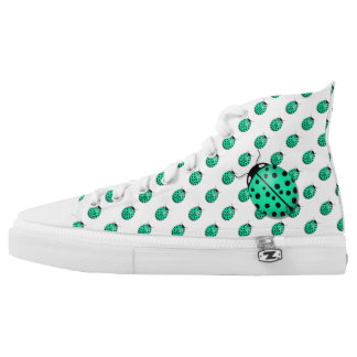 Ladybug in teal blue-green printed shoes
