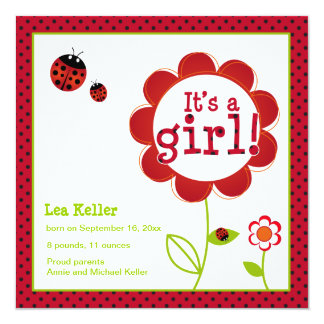 Ladybug 'it's a girl' announcement card