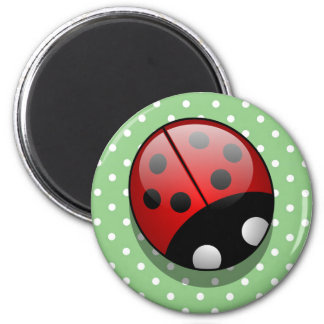 Ladybug (Ladybird, Lady Beetle) with Dots - Red 6 Cm Round Magnet