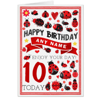 Ladybug Ladybird Personalised Birthday Card