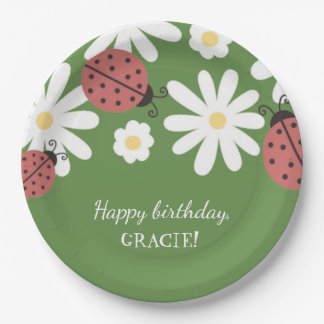 Ladybug Little Girl's Moss Green Birthday Party 9 Inch Paper Plate