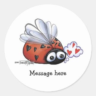 Ladybug lovebug round sticker