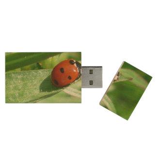 ladybug wood USB 2.0 flash drive