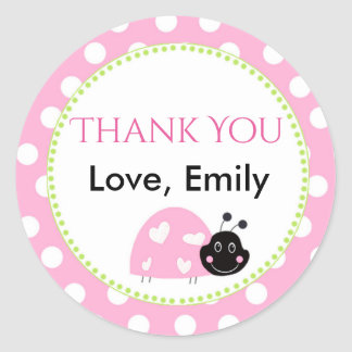 Ladybug Mint Green Pink Polka Dot Favor Label Round Sticker