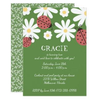 Ladybug Moss Green Little Girl's Birthday Party Card