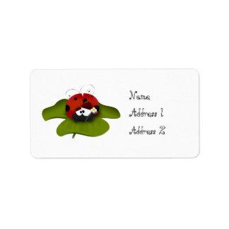 Ladybug on a green leaf address label