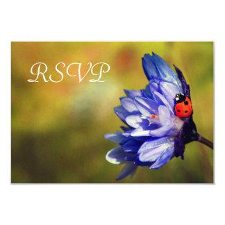 Ladybug on a purple flower RSVP Card 9 Cm X 13 Cm Invitation Card