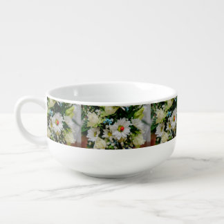 Ladybug on a white flower soup bowl with handle