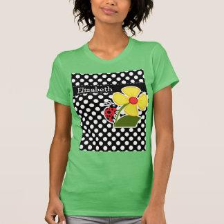 Ladybug on Black and White Polka Dots Tee Shirt