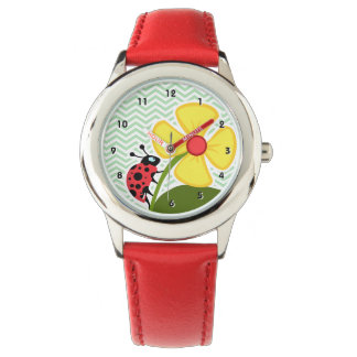 Ladybug on Celadon Chevron Watch