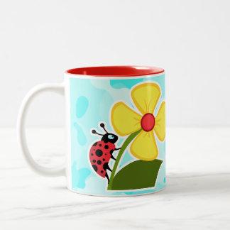 Ladybug on Celeste Camo Two-Tone Mug